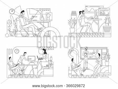 Office Workers Thin Line Vector Illustrations Set. Salesperson In Headset, Busy Employee Outline Cha