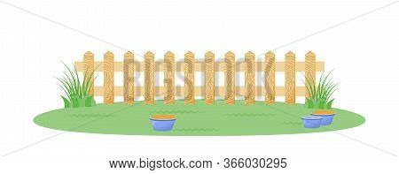 Backyard With Fence Flat Color Vector Illustration