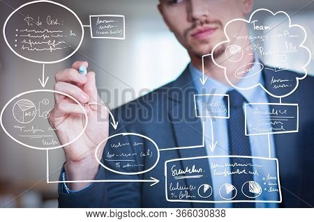 Businessman Writing Virtual Flowchart On Glass Board With Marker. Young Caucasian Businessman Wearin
