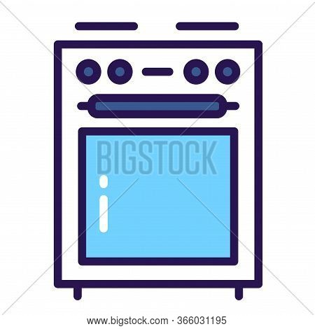 Kitchen Stove Color Line Icon. Household Equipment. Sign For Web Page, Mobile App, Banner.
