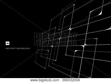 Abstract Pattern White Intersecting Geometric Lines Overlapping Perspective On Black Background. Tec
