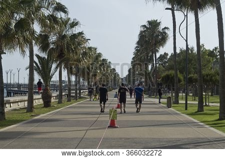 Limassol, Cyprus, May 11th, 2020: Seafront Promenade Molos During Coronavirus Quarantine With People