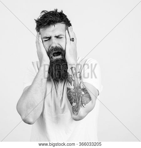 Sad Hipster Crying And Has Depression. Bearded Man In Stressed.