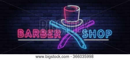Illuminated Neon Barber Shop Design With Gentleman Top Hat And Razor Blade. Hairstyling And Beard Gr