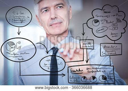 Closeup Portrait Of Serious Thoughtful Senior Businessman Looking Aside, Holding Crayon, Going To Dr