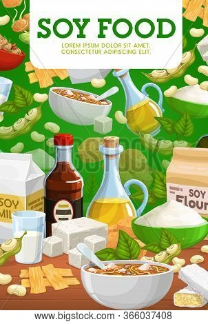 Soy Food And Soybean Products. Miso Soup With Soy Sauce And Tofu Cheese, Soybean Milk And Oil, Flour