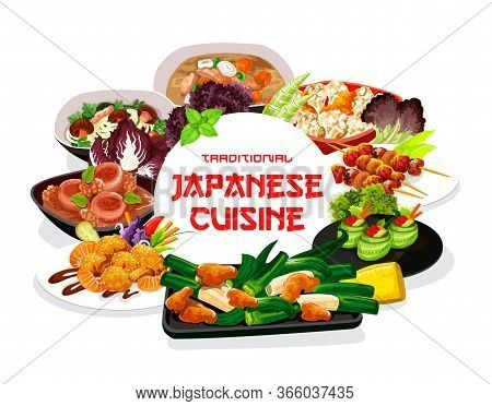 Japanese Cuisine Meals Round Vector Frame Of Ood Meals And Dishes. Cucumber Rolls With Caviar, Filip