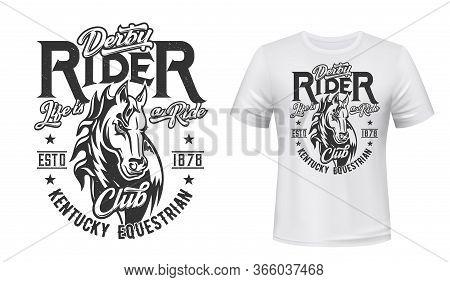 Horse Stallion T-shirt Print. Racing, Equestrian Sport Club Vector Mascot. Mare Animal, Monochrome H