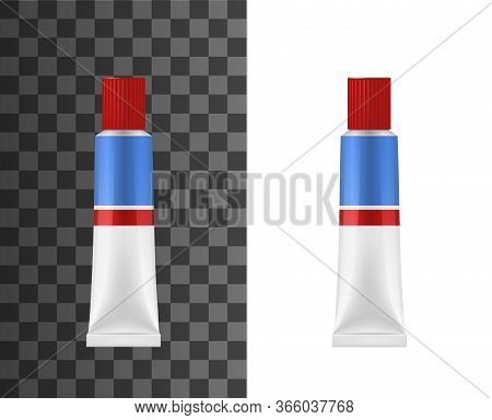 Adhesive Glue Tube Realistic 3d Vector Mockup. Adhesive White Package With Red And Blue Stripes, Uni