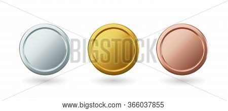 Vector Gold Coins And Medal With Ribbon, Set Of Isolated Awards In Realistic Design. Symbol Of Money