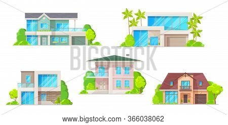 Houses, Cottage And Residential Buildings, Real Estate Vector Icons. Cartoon Exterior Facades Of Fam