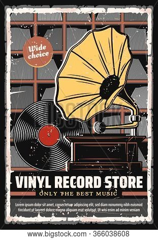 Vinyl Records Shop Vector Retro Poster. Wide Choice Of Vintage Vinyl Records And Players Music Store