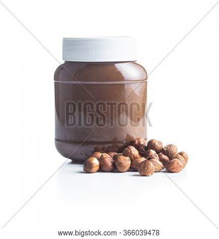Hazelnut spread. Nut chocolate cream isolated on white background.