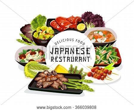 Japanese Cuisine Food, Vector Noodles With Shiitake Mushrooms, Puffer Fish Or Butaziru Pork Soup. Wh