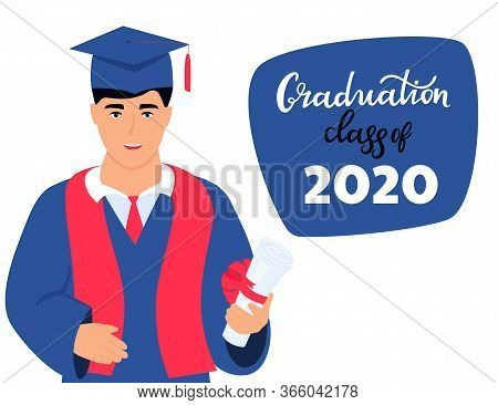 Graduation Class Of 2020. Invitation To The Virtual Ceremony. Greeting Banner. A Graduate In A Mantl