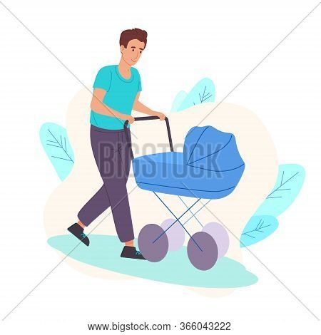 Dad Walks On The Street As A Child In A Stroller. Father Rolls His Son In A Stroller In The Fresh Ai