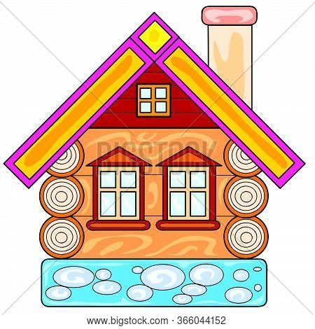 Rustic Hut On A Stone Foundation, Isolated Object On A White Background, Vector Illustration, Eps