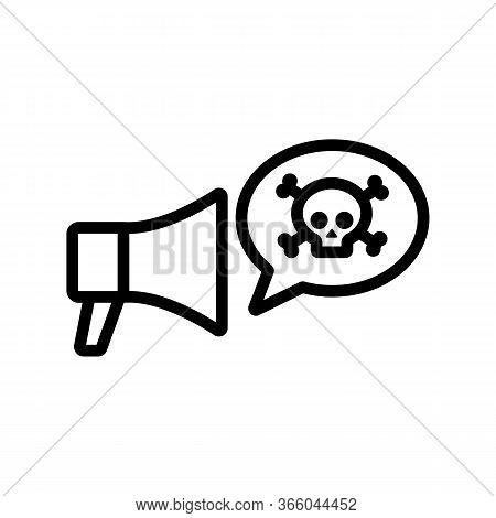 Hacker Danger Loudspeaker Icon Vector. Hacker Danger Loudspeaker Sign. Isolated Contour Symbol Illus