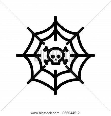Spider Web With Skull Inside Icon Vector. Spider Web With Skull Inside Sign. Isolated Contour Symbol