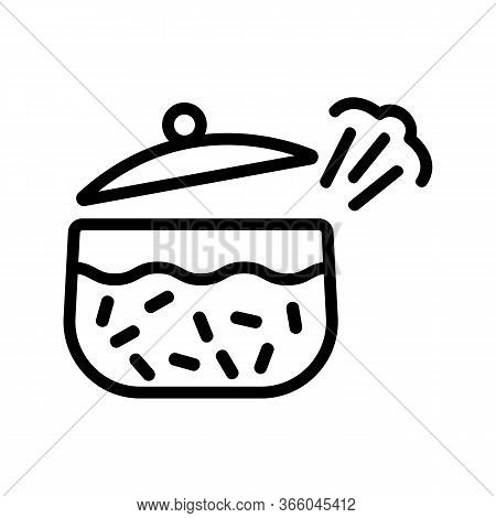 Whistling Pan About Cooked Boiling Porridge Icon Vector. Whistling Pan About Cooked Boiling Porridge