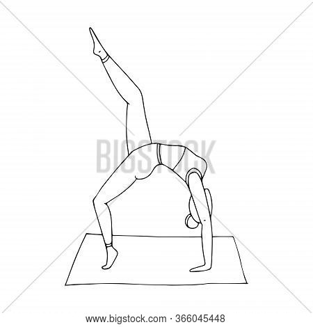A Young Girl Practices Hatha Yoga. Indian Culture. Gymnastics, Healthy Lifestyle. Doodle Style. Blac
