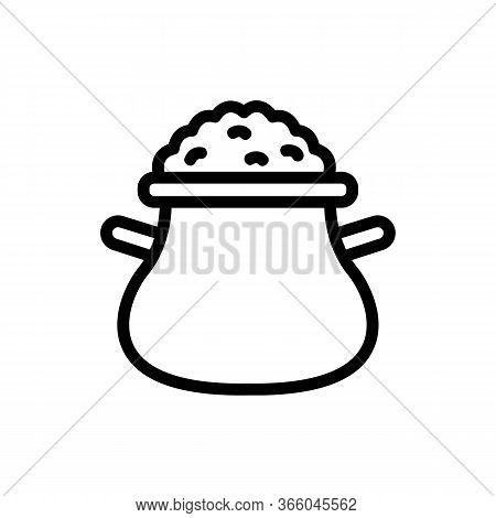 Porridge Filled Jug With Handles Icon Vector. Porridge Filled Jug With Handles Sign. Isolated Contou