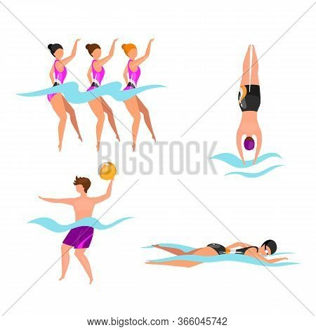 Extreme Water Sports Flat Vector Illustrations Set. Synchronized Swimming Athletes. Man Playing Voll