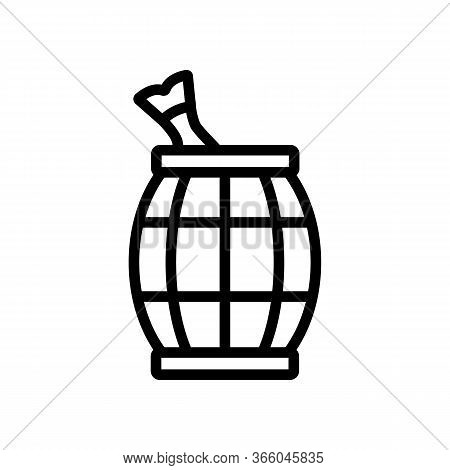 Wooden Fish Filled Barrel Icon Vector. Wooden Fish Filled Barrel Sign. Isolated Contour Symbol Illus