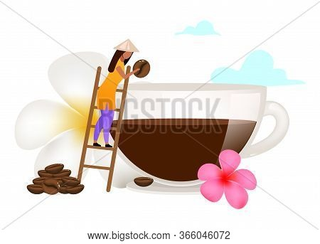 Small Family Coffee Business Flat Vector Illustration