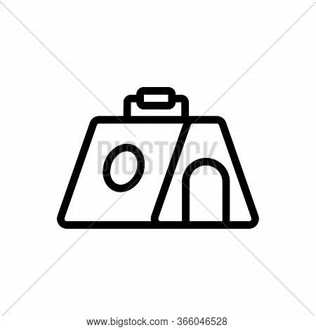 Portable Canine Kennel House Icon Vector. Portable Canine Kennel House Sign. Isolated Contour Symbol