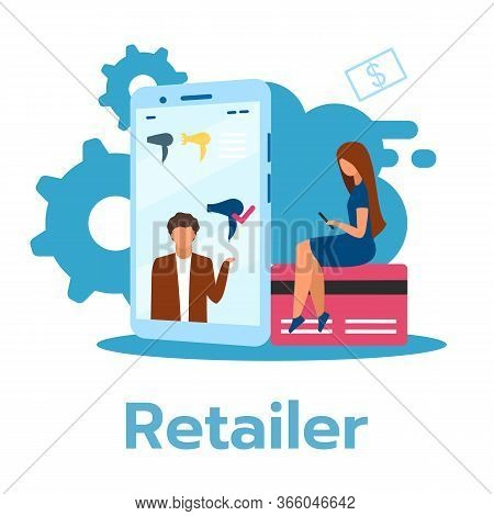Retailer Flat Vector Illustration. Selling Consumer Goods. Merchandise Distibution. Product Display