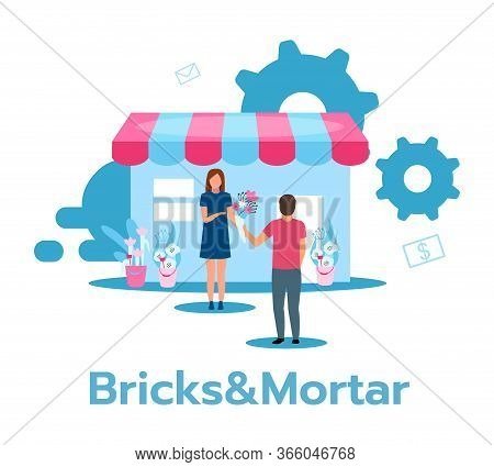 Bricks And Mortar Flat Vector Illustration. Retail Store. Traditional Flower Shop. Face-to-face Trad