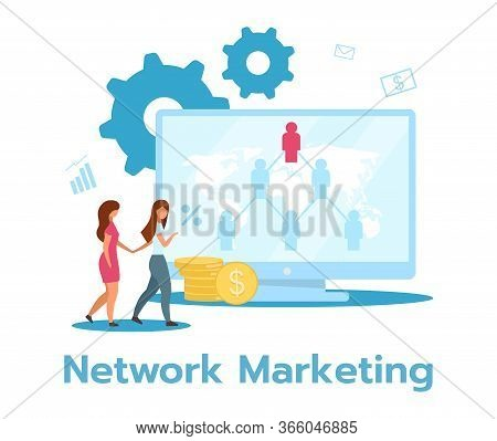 Network Marketing Flat Vector Illustration. Pyramid Selling. Product, Services Sale. Multi-level, Tw