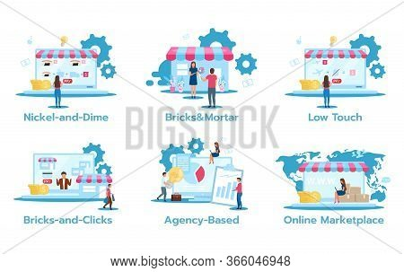 Business Model Flat Vector Illustrations Set. Nickel-and-dime. Brick And Mortar. Low Touch. Bricks-a