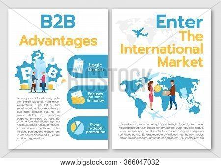 B2b Advantages Brochure Template. Flyer, Booklet, Leaflet Concept With Flat Illustrations. Enter Int