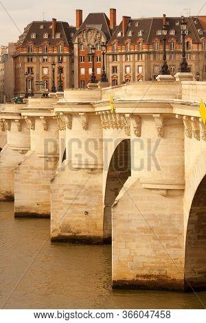 Pont Neuf Bridge Over The Seine River, Ile De La Cite, Paris, France