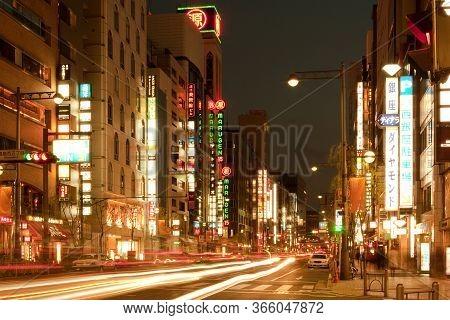 Tokyo, Kanto Region, Honshu, Japan - April 17, 2010: Light Trails In A Street At Ginza District.