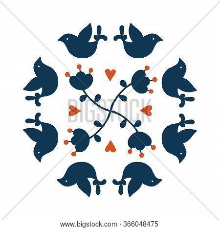 Folk Art Vector Round Decorative Frame With Birds And Flowers, Scandinavian Design. Flower Arrangeme