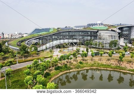 Caotun, Taiwan - October 31th, 2019: aerial view of Central Taiwan Innovation Campus, Nantou, Taiwan