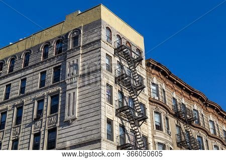 New York, United States Of America - November 19, 2016: Residential Buildings With Typical Fire Esca
