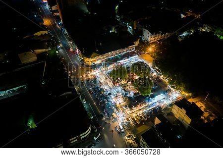 Nantou, Taiwan - September 11th, 2019: aerial view of Shuren night marketplace at Puli town, Nantou, Taiwan