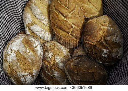Bread In A Wicker Basket, Detail Of Daily Basic Food