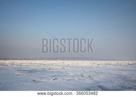 Panorama Of The Frozen Danube During The 2017 Winter, In Zemun, Belgrade, Serbia With Ice Popping Ou