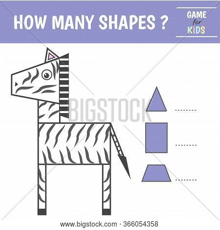 Educational Game For Kids. Geometrical Figure Zebra. Count Triangles,trapezoids, Rectangles. Prescho