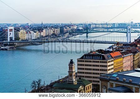 Budapest, Hungary - November 25, 2019:  Elisabeth Bridge, Liberty Bridge And Petofi Bridge Connectin
