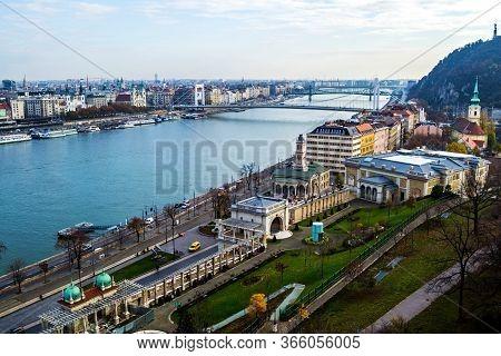 Budapest, Hungary - November 25, 2019: View Of The Citadel, Danube River, Elisabeth Bridge And Liber