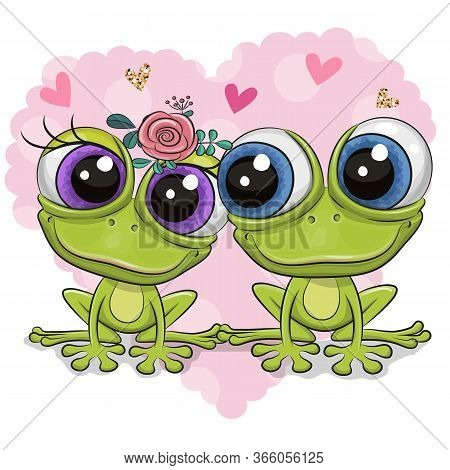 Two Cute Cartoon Frogs On A Background Of Heart