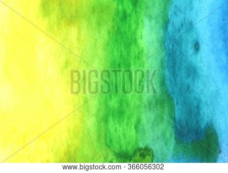 Abstract Watercolor Aquarelle Background Bright Yellow Azure Blue Green. Hand Drawn. The Texture Of