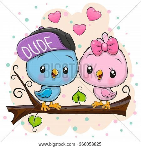 Two Cute Cartoon Birds Is Sitting On A Branch