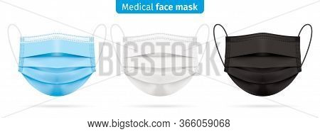 Vector Set Of Medical Face Masks In Blue, White And Black Colors. Corona Virus Protection Surgical R